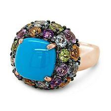 Carlo Viani 14K Rose Gold Turquoise Amethyst Aqua Citrine Peridot Cocktail Ring