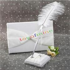 Romantic Ostrich Feather Pen&Pen Stand Set Wedding Bride Supply
