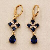 Blue Sapphire & Diamonds 2.80Ct 14k Yellow Gold Over Water Drop Dangle Earrings