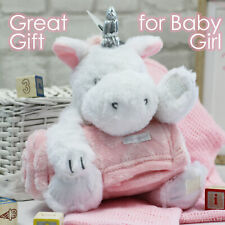 Baby Girls Plush Soft Cuddly Unicorn Toy and Blanket Set Baby Shower Present UK