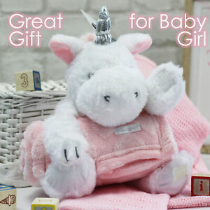 Baby Girls Plush Soft Cuddly Unicorn Toy and Blanket Set Baby Shower Present UK