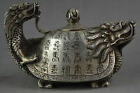 Collectible Decorated Old Handwork Tibet Silver Carved Dragon Tortoise Tea Pot