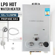 12L 3.2GPM Hot Water Heater Propane Gas Instant Tankless Boiler LPG w/ Shower
