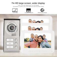 Video Türsprechanlage 7'' LCD Gegensprechanlage Sprechanlage für 3 Familienhaus