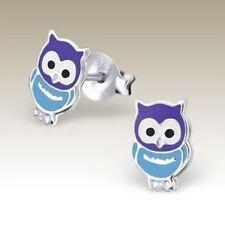 Girls Sterling Silver Owl Stud Earrings Purple Blue Kids Cute Studs Genuine 925