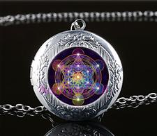 Metatron's Cube Photo Cabochon Glass Tibet Silver Locket Pendant Necklace