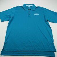 Adidas Golf Climacool Mens Polo Shirt Blue Stripes Short Sleeve Stretch Large