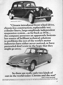 1969 Citroen DS-21 Pallas Original Ad with 1934 Traction Avant Model 11