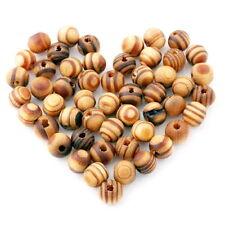 100 perles en bois zébrée couleur marron 6 mm