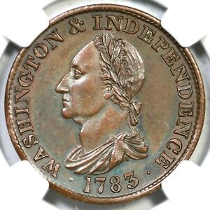 1783 Cop Restrike Baker-3 NGC PF 63 BN Washington & Independence Colonial Coin