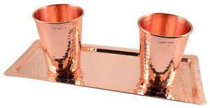 HEAVIEST 100% Solid Hammered Copper Water Moscow Mule Cup Tumbler Tray Set,14 Oz