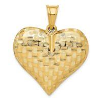 14K Yellow Gold Textured Puff Heart Pendant