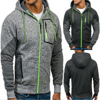 Mens Winter Hoodie Hooded Zip Up Sweatshirt Coat Jacket Sports Jumper Outwear