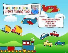 Cars Trucks Trains Planes Birthday Party Invitation Any Colors Add Photo