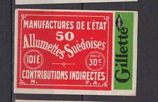 Ancienne  étiquette  Allumettes France  Rasoir Gillette