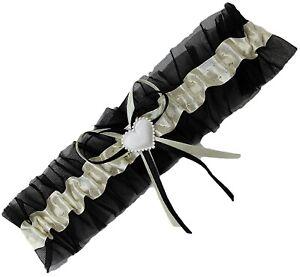 Braut Strumpfband schwarz creme Schleifchen Herzchen Hochzeit Brautstrumpfband