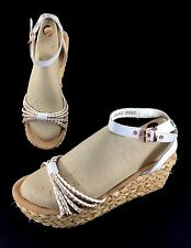 Minnetonka White Leather PROSPECT Sandals Sz 6 Wedge Heel Slingback 71501 WOVEN