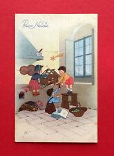 Glückwunsch Künstler AK WEIHNACHTEN um 1930 Kinder mit Holzhaus Krippe  ( 56104