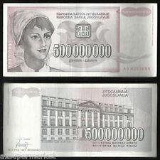 "RARE 1993 ""YUGOSLAVIA BANK NOTE"" CURRENCY ""500000000 DINARA"" P# 125"