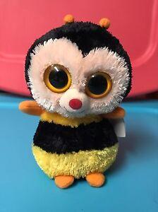 """Ty STING -Yellow/Black Plush Honeybee 6"""" Beanie Boo! *Retired 1st Version!* VHTF"""