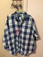 NWT WRANGLER WESTERN SHIRTS BLUE PLAID COTTON/ PEARL SNAP LS SHIRT XXL