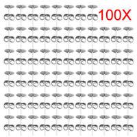 100pcs DIY Flat Pad Silver Plated Earring Post Stud + Scroll Backs Findings