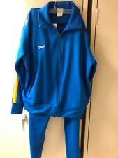 Mens Speedo Royal Blue Track Suit W/ Yellow-White Stripe -2 Piece SZ Med?