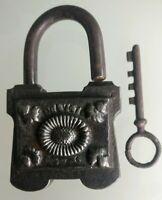 Lucchetto Antico/Serratura/Bagagliaio/ Con il Suo Chiave IN Metallo Forgiato