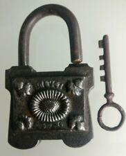 Padlock Antique/Lock/ Boot / With Sa Key Metal Forged