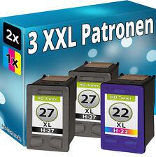 3x REFILL für HP 27+22 4110 4200 4212 4215v 4215xi 4252 4255 5605 5608 5610xi