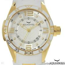 AQUASWISS TRAX STUNNING UNISEX GOLD PLATED STAINLESS STEEL DATE  WATCH BNWT#1911