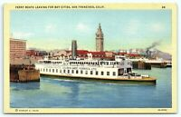 VTG Postcard CA California Linen Ferry Ferries Boat San Francisco El Paso B1