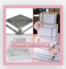 """4 Tier Square Multi-layer Birthday Wedding Cake Tins pan 6"""" 8"""" 10"""" 12""""- 3"""" deep"""