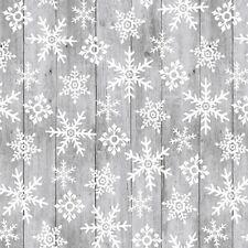 Christmas Fabric - Snow Place Like Home Snowflake Gray Wood - Studio E YARD