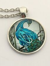 PEACOCK cabochon necklace  Teal Blue birds  UK seller         E25