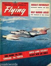 RAF FLYING REVIEW DEC 55 SPANISH AIR POWER/ USSR ROTORCRAFT/ SUPER SABRE CUTAWAY