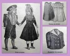 PATRON LA MODE ILLUSTREE, vêtement poupée ancienne, n° 46 de1900, DOLL PATTERN