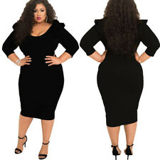 Womens Plus Size Clothing Dress Evening Cocktail Skirt 3/4 Sleeve Bodycon Large