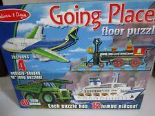 """Melissa & Doug Going Places 4 Vehicles 18"""" Floor Puzzles ~ 12 pieces each  #432"""