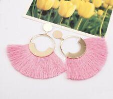 Boho Bohemian Earrings Pink Long Tassel Dangle Earring Charm Women Jewelry Hook