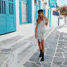 Zara Striped Distressed Asymmetric Denim dress with front frills Size M BNWT