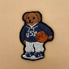 More details for iron on patch - blue basketball bear embroidered