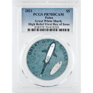 Great White Shark 1 oz silver coin PR70 Palau 2021 FDI