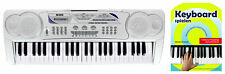Digitales 49-Tasten Keyboard Set E-Piano Schüler Noten Kinder Demo Silber