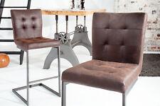 Barhocker Barstuhl Leder dunkel braun Eisen Vintage Design Barmöbel Sitzhocker
