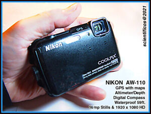 NIKON AW-110 Black Body with strap & SD Card and Case in EXCELLENT+ Condition