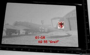 orig. Negativ Flugzeug He 111 Kennung G1+DR KG 55 Greif + Negativ Tüte Paris