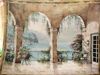 "MEDITERRANEAN COAST VIEW ITALY GREECE EUROPE PALACE 53"" TAPESTRY WALL HANGING"