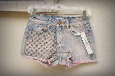NWT LOVE FIRE Size 0 Alter Ego Stud Detail Over Dye Hot Mini Denim Short Shorts