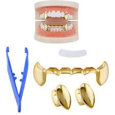 2PCS Gold Vampire Dracula Teeth Single Fang + 6 bottom Grillz Set 14K Fashion